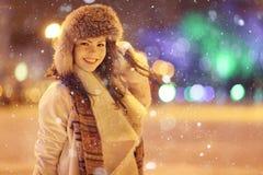 Night winter portrait of beautiful girl Royalty Free Stock Photos