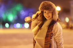 Night winter portrait of beautiful girl Royalty Free Stock Images