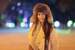 Night winter portrait of beautiful girl Stock Photos