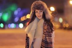 Night winter portrait of beautiful girl Stock Images