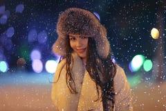 Night winter portrait of beautiful girl Royalty Free Stock Photography