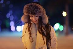 Night winter portrait of beautiful girl Stock Photography