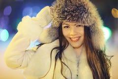Night winter portrait of beautiful girl Stock Image
