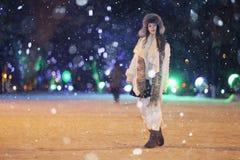 Night winter portrait of beautiful girl Royalty Free Stock Image