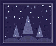 Night Winter Scene. Snow falling onto a landscape of pine trees vector illustration