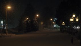 Night winter scene of deserted snowy avenue stock video footage