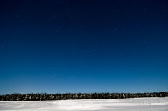 Night winter scene with starry sky Royalty Free Stock Images