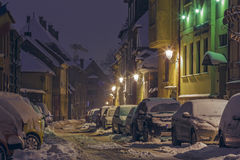 Night winter street scene Stock Photography