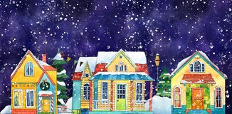 Watercolor Night Winter Street Village City Houses. Hand drawn watercolor illustration. royalty free illustration