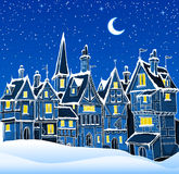 Night winter town. Vector illustration of night winter town in snow. Can be used as a background for cristmas greeting card Royalty Free Stock Image