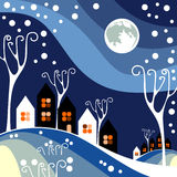 Night winter town Royalty Free Stock Photography