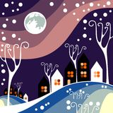 Night winter town with purple sky Stock Photography