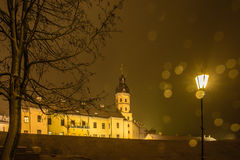 Night winter view of the illuminated medieval Nesvizh Castle Royalty Free Stock Photo