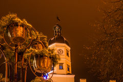 Night winter view of the illuminated Town Hall in Nesvizh Stock Photography