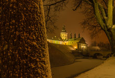 Night winter view of the  Nesvizh Castle Royalty Free Stock Photo