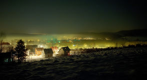 Night winter view on the small tow Stock Photos