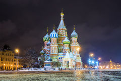 Night winter  view of the St. Basil`s Cathedral in Moscow Stock Images