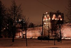 Night winter view to bastion and wall of Donskoy monastery at Moscow, Russia Royalty Free Stock Images