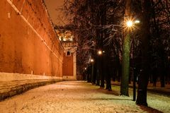 Night winter view to bastion and wall of Donskoy monastery, Moscow at Russia Royalty Free Stock Photography