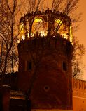 Night winter view to bastion and wall of Donskoy monastery, Moscow at Russia Royalty Free Stock Images