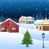 Night winter village landscape with snow covered house and christmas tree Royalty Free Stock Image