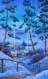 Night at the winter village. Watercolor landscape. To the old village among the snowy hills covered with pine forest is a narrow path Stock Photos