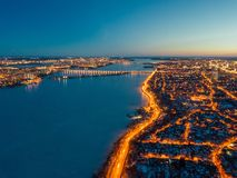 Night winter Voronezh, aerial view from drone.  royalty free stock photo