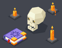Night Wisdom Magic Icon Skull Spellbook Candles Stock Photography