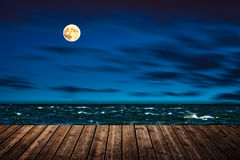 Night wooden pier Stock Photo