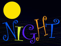 Night word and moon Stock Images