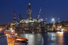 Night work. Giant oil rig under constuction in the big harbor, Valletta, Malta Royalty Free Stock Photo