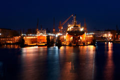 Night work in the yard. Vessels on the docks during the renovation of the shipyardGanskiej Royalty Free Stock Photos