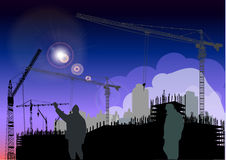 Night works near building Royalty Free Stock Images