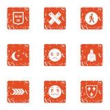 Night world icons set, grunge style. Night world icons set. Grunge set of 9 night world vector icons for web isolated on white background Stock Photos