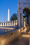 Night at the World War Two Memorial Washington Monument District Stock Photos