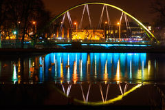 Night in Wroclaw. Bridge in Wroclaw and Odra river, Poland Stock Photography