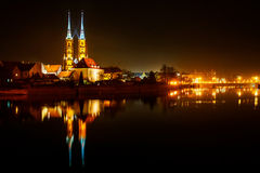 Night in Wroclaw. Church in Wroclaw in ostrow tumski, Poland Royalty Free Stock Photo