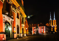 Night in Wroclaw. Church in Wroclaw in ostrow tumski, Poland Royalty Free Stock Image