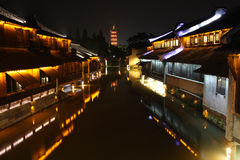 The Night Of Wuzhen Town. The night of Wuzhen. famous watery town in Zhejiang. China royalty free stock photos