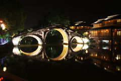 The Night Of Wuzhen Town. The night of Wuzhen. famous watery town in Zhejiang. China royalty free stock photography