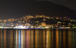 Night Yalta. With reflection on water Stock Photography