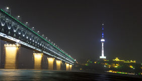 The night of the Yangtze River Bridge Stock Photo