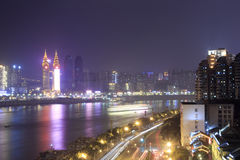 Night of the yangtze river. In chongqing city, china Stock Images