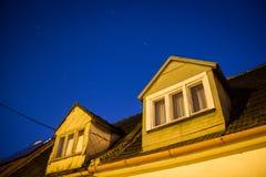 Night Sky Houses Scene Stock Image