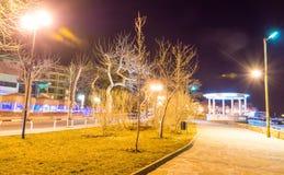 Night on Yavorov Street, Bulgarian Pomorie royalty free stock photos
