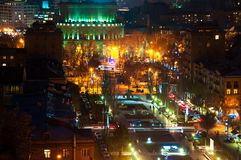Night in Yerevan, Armenia. Nightlife with people and car traffic in the capital of Armenia Stock Photography