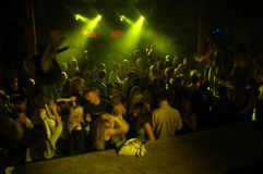 Nightclub. People dancing in a nightclub, dim light, no flash Royalty Free Stock Image