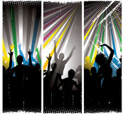 Nightclub background. Silhouette of a crowd of people dancing in a nightclub atmosphere vector illustration