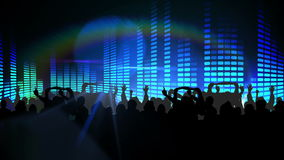 Nightclub with blue lights and dancing crowd stock footage