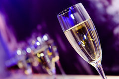 Nightclub champagne glass. Luxury party champagne glass in nightclub neon lilac, blue and purple lights, blurry closeup Stock Images